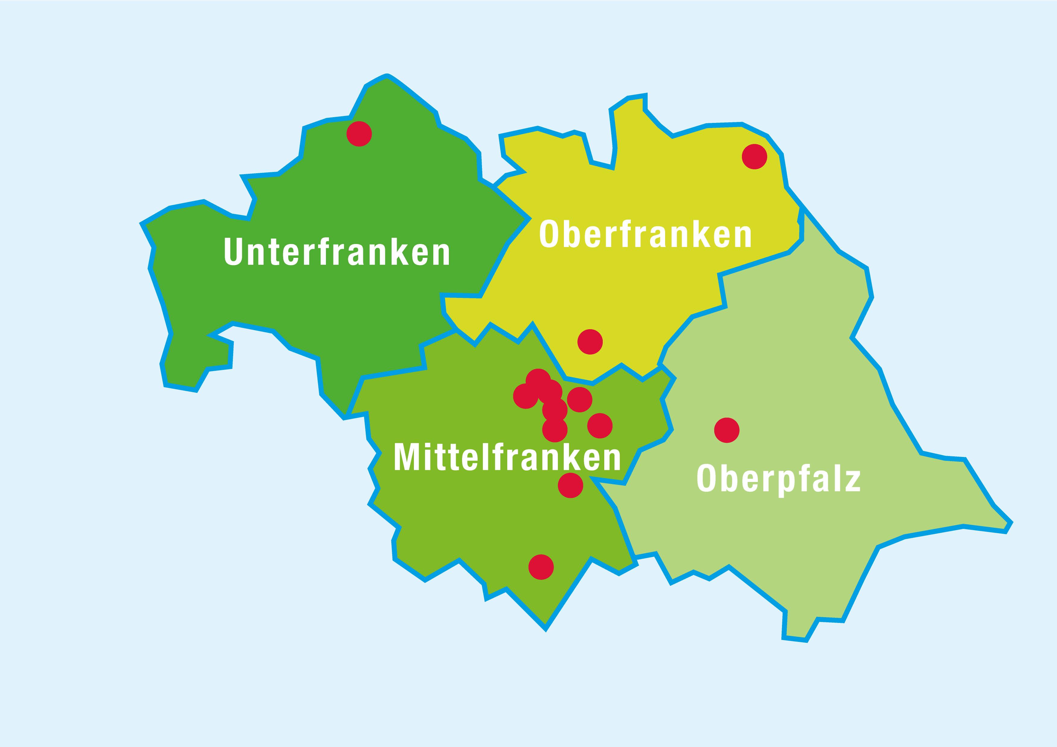 Karte Oberfranken Unterfranken Mittelfranken.Montessori Nordbayern