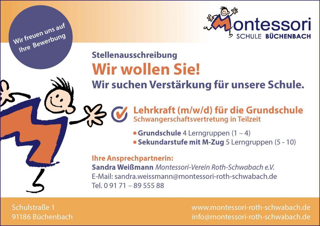 Stellenanzeige Montessori Schule Büchenbach